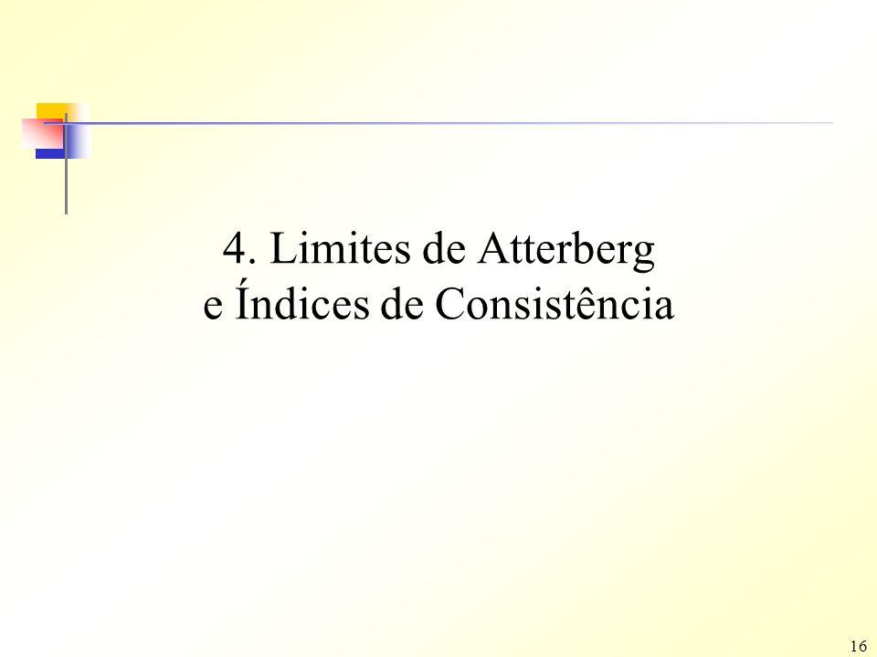 16 4. Limites de Atterberg e Índices de Consistência