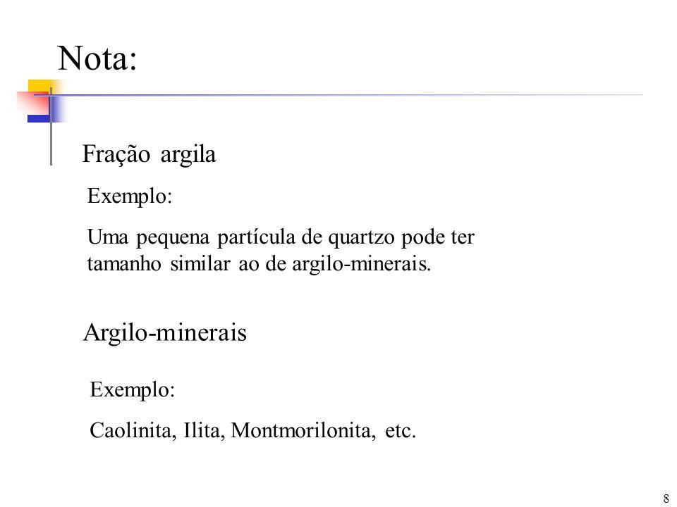 8 Nota: Fração argila Argilo-minerais Exemplo: Caolinita, Ilita, Montmorilonita, etc. Exemplo: Uma pequena partícula de quartzo pode ter tamanho simil