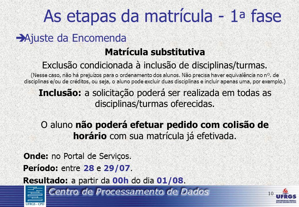 10 As etapas da matrícula - 1 ª fase è Ajuste da Encomenda Matrícula substitutiva Exclusão condicionada à inclusão de disciplinas/turmas. (Nesse caso,