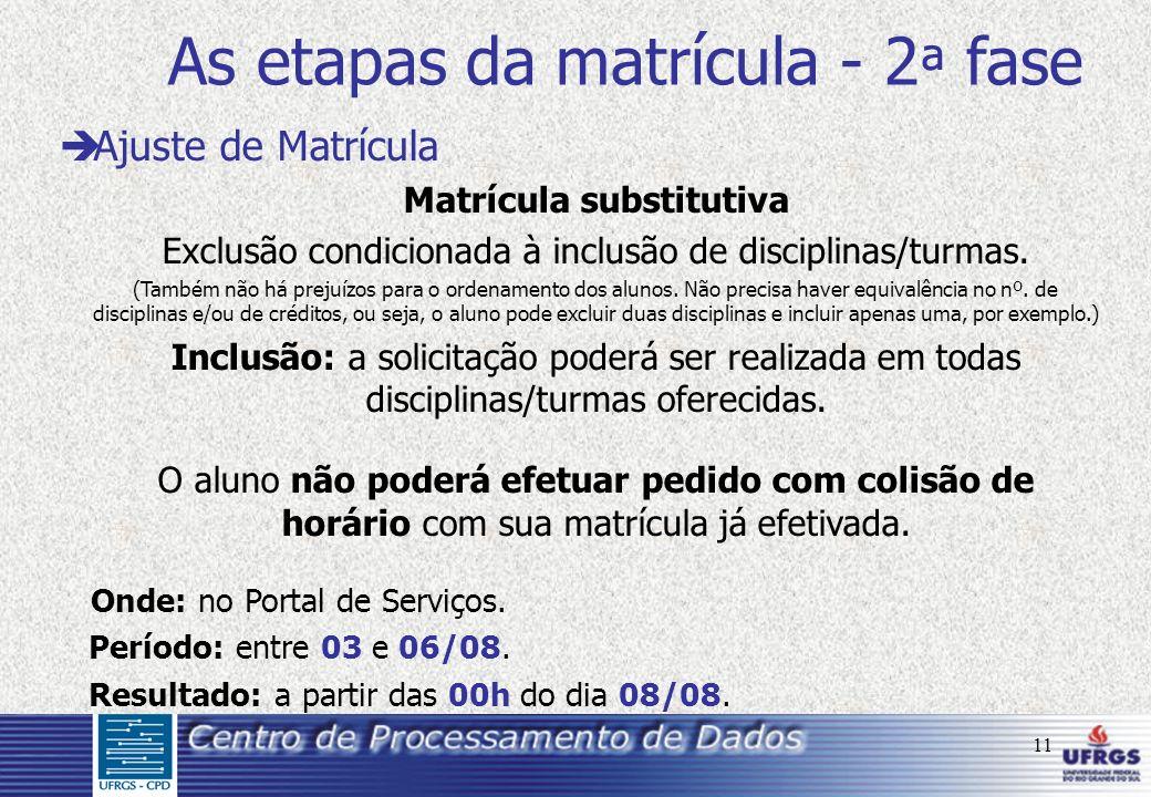 11 As etapas da matrícula - 2 ª fase è Ajuste de Matrícula Matrícula substitutiva Exclusão condicionada à inclusão de disciplinas/turmas. (Também não