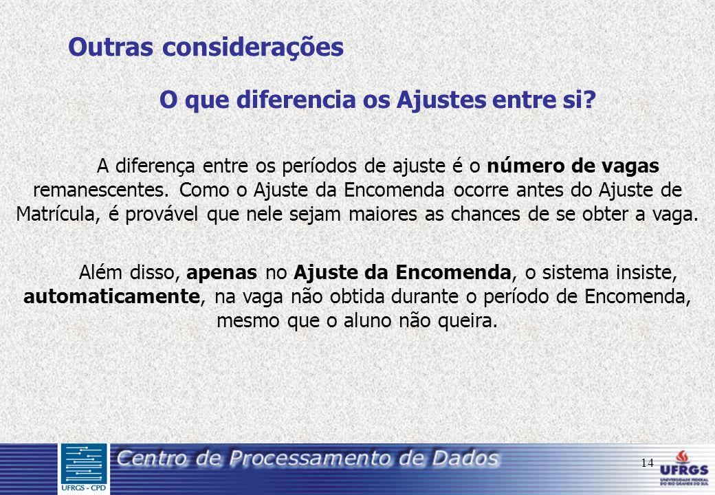 14 O que diferencia os Ajustes entre si? A diferença entre os períodos de ajuste é o número de vagas remanescentes. Como o Ajuste da Encomenda ocorre
