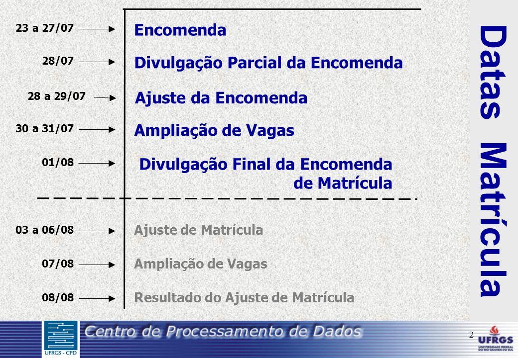 2 Datas Matrícula Encomenda 23 a 27/07 Divulgação Parcial da Encomenda 28/07 Ajuste da Encomenda 28 a 29/07 Ampliação de Vagas 30 a 31/07 Divulgação F