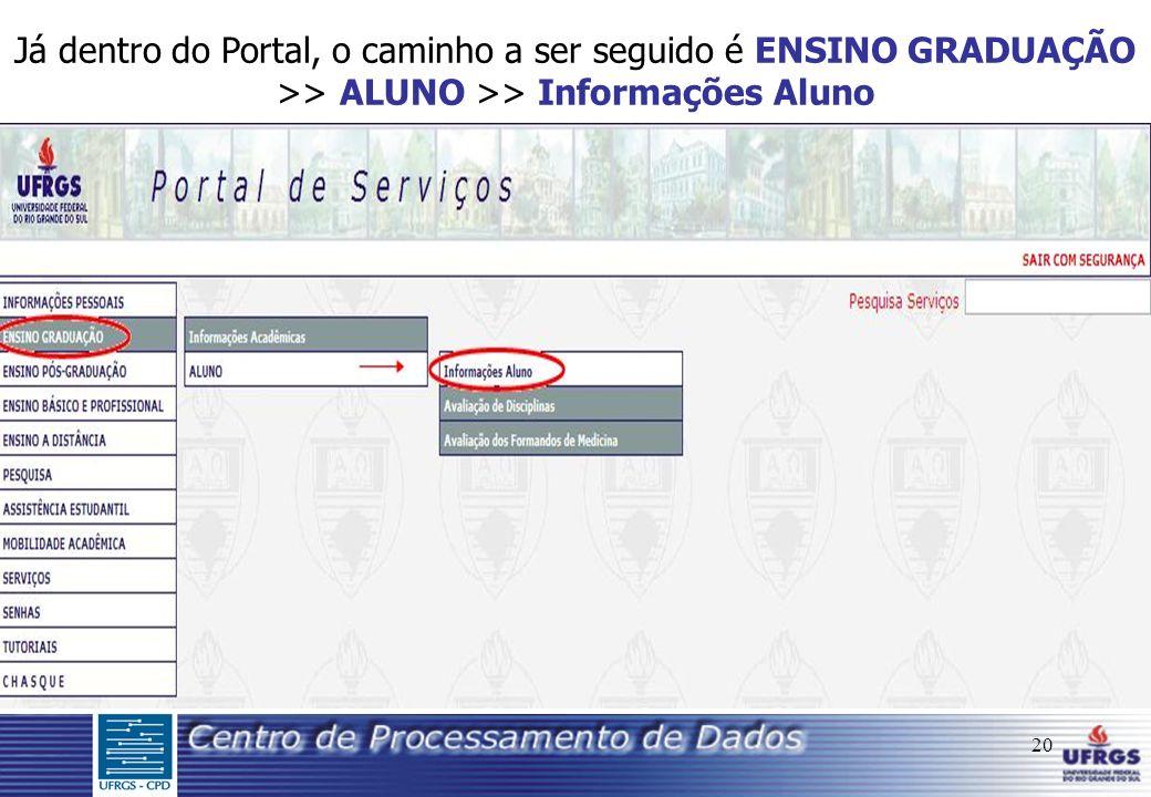 20 Já dentro do Portal, o caminho a ser seguido é ENSINO GRADUAÇÃO >> ALUNO >> Informações Aluno