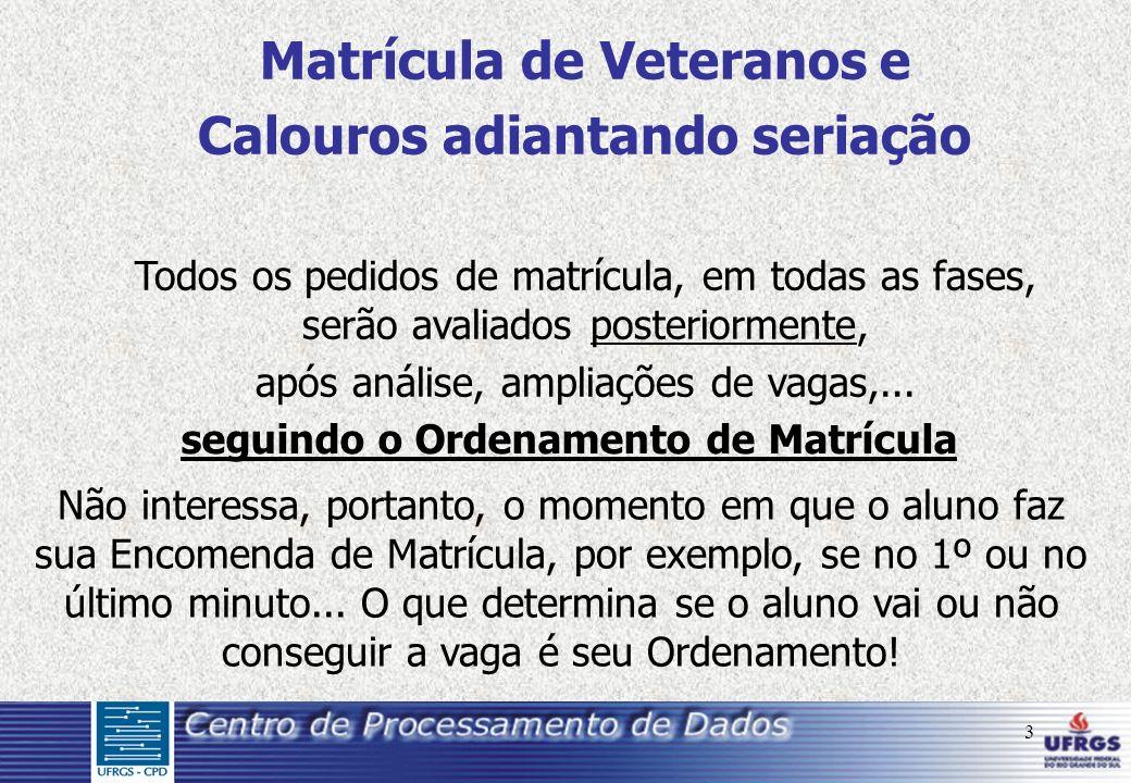 3 Matrícula de Veteranos e Calouros adiantando seriação Todos os pedidos de matrícula, em todas as fases, serão avaliados posteriormente, após análise