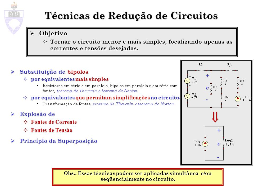 Bipolos Equivalentes Possuem a mesma função relacionando a tensão v e a corrente i no bipolo Possuem a mesma função relacionando a tensão v e a corrente i no bipolo Um bipolo pode ser substituído por seu equivalente sem afetar as correntes e tensões no resto do circuito Um bipolo pode ser substituído por seu equivalente sem afetar as correntes e tensões no resto do circuito Exemplo: Exemplo: f 1 ( v, i )= f 2 ( v, i )=0 i +v-+v- 3 7 +v-+v- i 10 v = 3 i +7 i v = 10 i bipolo 1bipolo 2 i + v R1 - + v bip - - v R3 + - v R2 + i, v R1, v R2, v R3, v bip não mudam em função do bipolo 1 ou 2