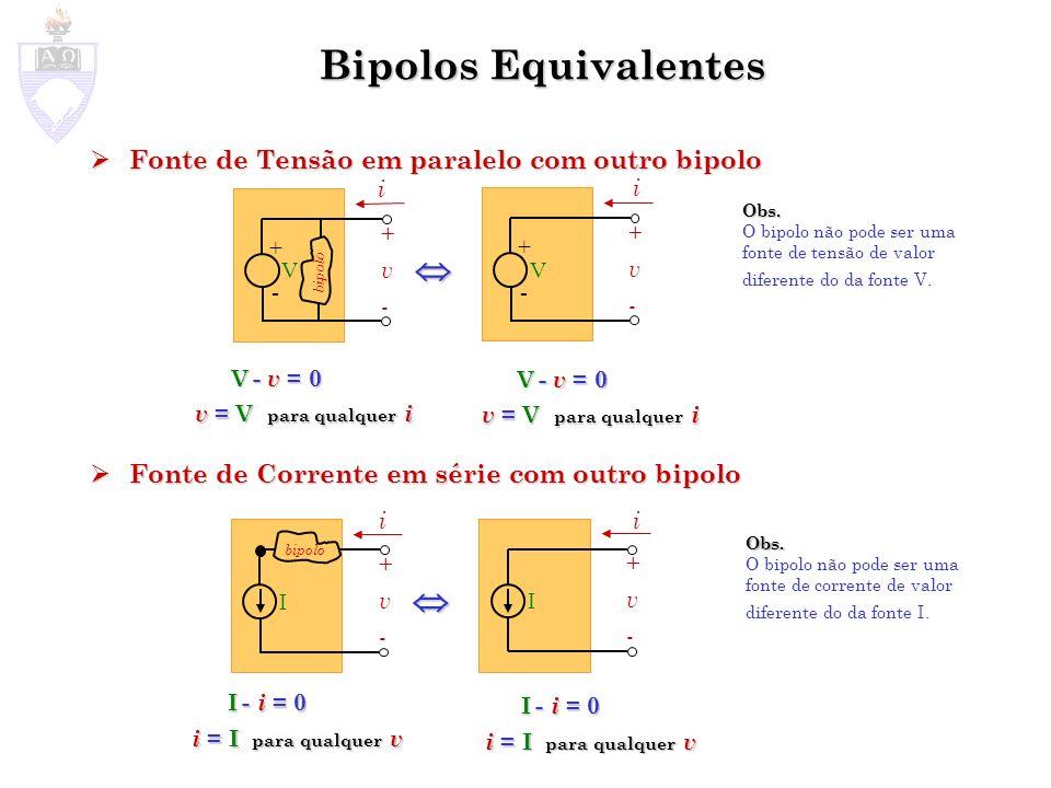 Bipolos Equivalentes Fontes de Tensão em Série Fontes de Tensão em Série Fontes de Corrente em Paralelo Fontes de Corrente em Paralelo V1V1 + - + v - i V 1 +V 2 +...V n - v =0 v = V 1 +V 2 +...V n para qualquer i V eq - v = 0 v = V eq para qualquer i V2V2 + - VnVn + - V eq + - + v - i Bipolo 1 Bipolo 2 Bipolo 1 Bipolo 2 SE V eq = V 1 +V 2 +...+V n I eq +v-+v- i I eq - i = 0 i = I eq para qualquer v I1I1 +v-+v- i I2I2 InIn I 1 +I 2 +...I n - i =0 i = I 1 +I 2 +...I n para qualquer i Bipolo 1 Bipolo 2 Bipolo 1 Bipolo 2 SE I eq = I 1 +I 2 +...+I n