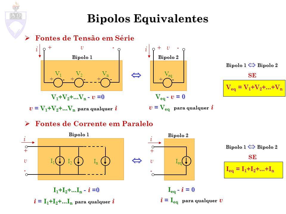 Bipolos Equivalentes Transformação de fontes Transformação de fontes Fonte de Tensão em Série com Resistor Fonte de Corrente em Paralelo com Resistor Rs V + - +v-+v- i - v Rs + Rp I +v-+v- i i Rp v Rs + V - v = 0 i Rs + V - v = 0 v = i Rs + V +i Rp - I - i = 0 v Rp - v = 0 + v Rp - i Rp Rp - v = 0 i Rp = v Rp v Rp = i +I v = i Rp + I Rp SE Rs = Rp V = I Rs