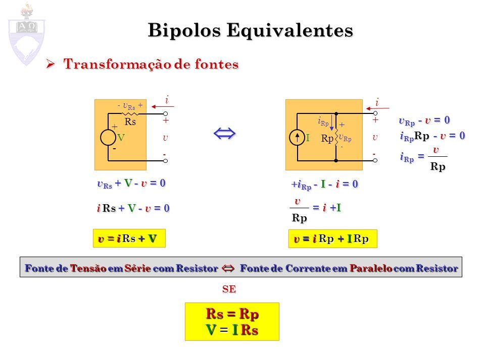 Bipolos Equivalentes Transformação de fontes Transformação de fontes Fonte de Tensão em Série com Resistor Fonte de Corrente em Paralelo com Resistor