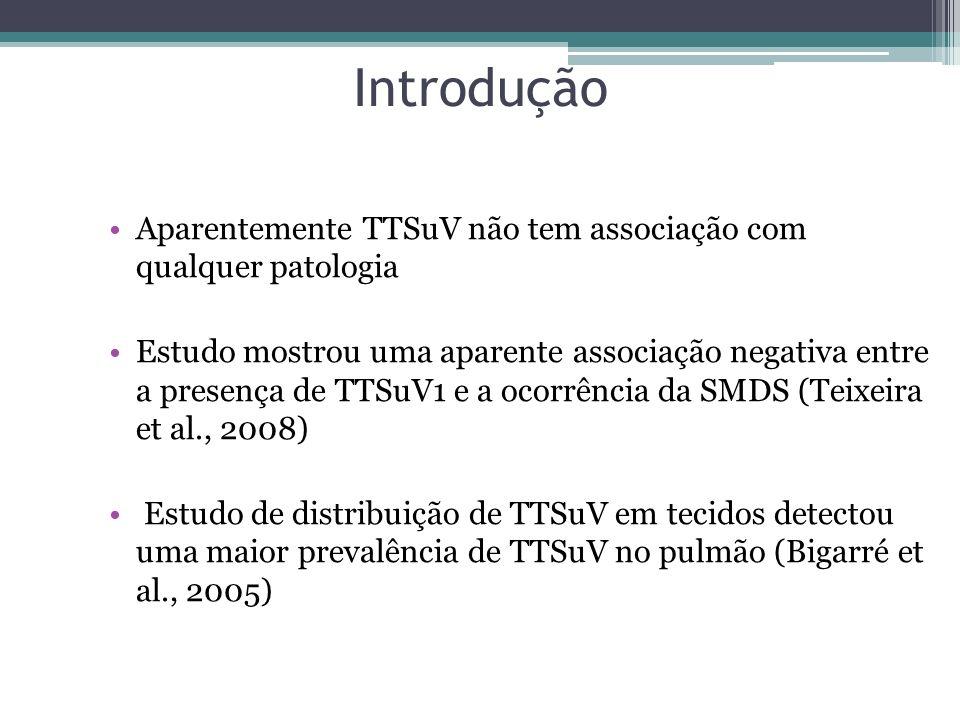 Introdução Aparentemente TTSuV não tem associação com qualquer patologia Estudo mostrou uma aparente associação negativa entre a presença de TTSuV1 e