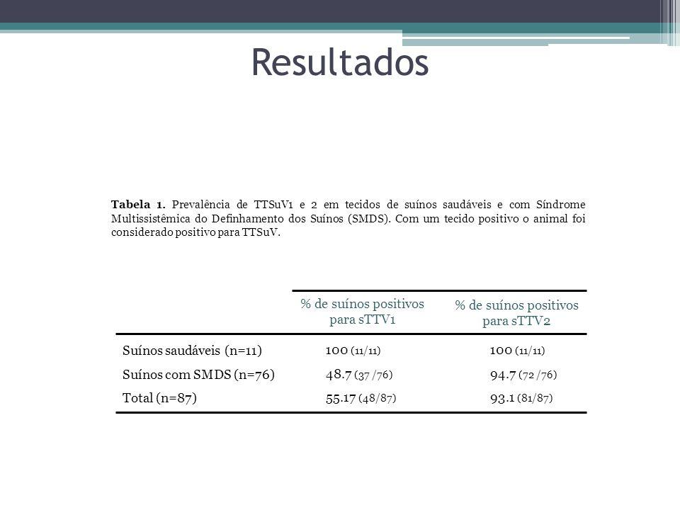 Resultados Tabela 1. Prevalência de TTSuV1 e 2 em tecidos de suínos saudáveis e com Síndrome Multissistêmica do Definhamento dos Suínos (SMDS). Com um