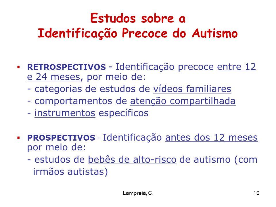 Lampreia, C.10 Estudos sobre a Identificação Precoce do Autismo RETROSPECTIVOS - Identificação precoce entre 12 e 24 meses, por meio de: - categorias