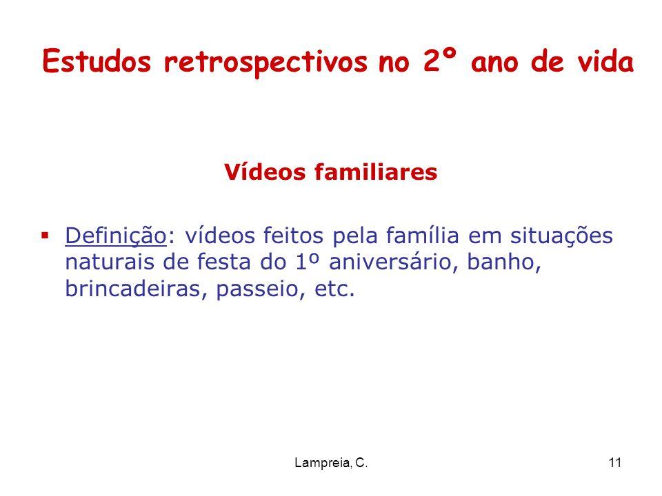 Lampreia, C.11 Estudos retrospectivos no 2º ano de vida Vídeos familiares Definição: vídeos feitos pela família em situações naturais de festa do 1º a