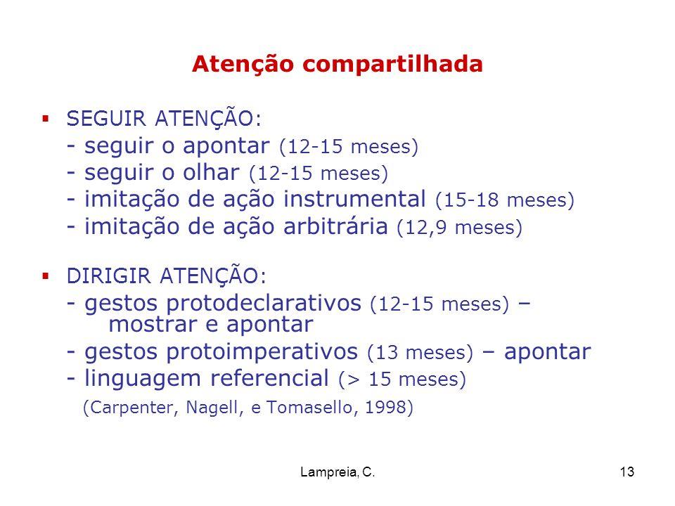 Lampreia, C.13 Atenção compartilhada SEGUIR ATENÇÃO: - seguir o apontar (12-15 meses) - seguir o olhar (12-15 meses) - imitação de ação instrumental (