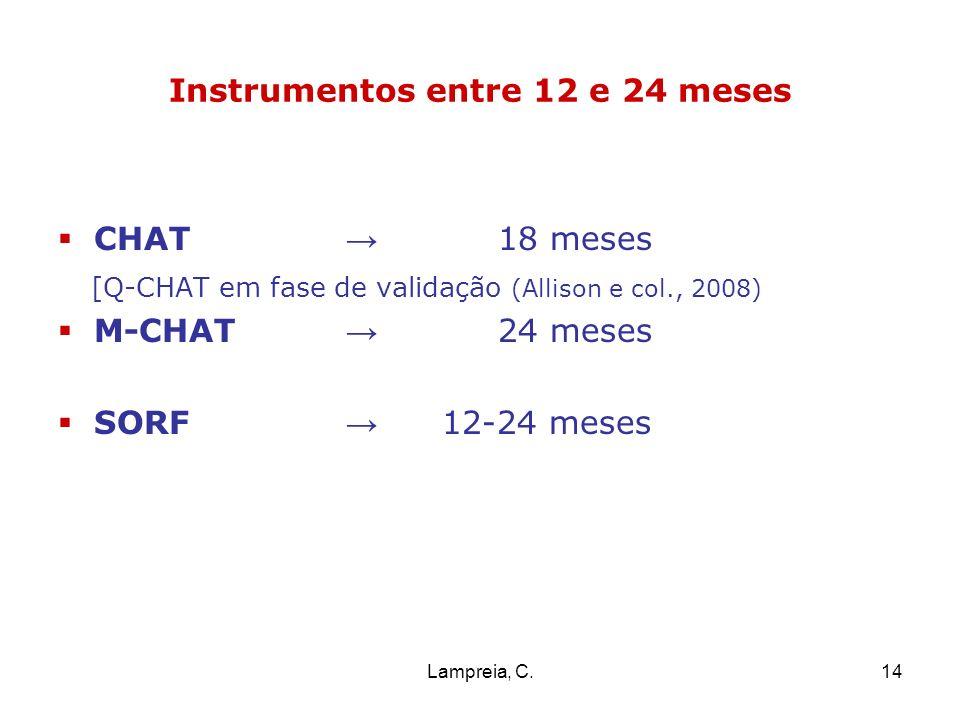 Lampreia, C.14 Instrumentos entre 12 e 24 meses CHAT 18 meses [Q-CHAT em fase de validação (Allison e col., 2008) M-CHAT 24 meses SORF 12-24 meses