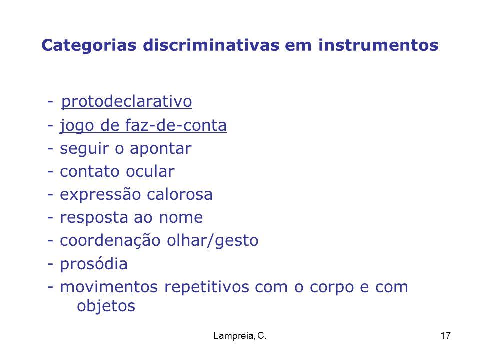 Lampreia, C.17 Categorias discriminativas em instrumentos - protodeclarativo - jogo de faz-de-conta - seguir o apontar - contato ocular - expressão ca