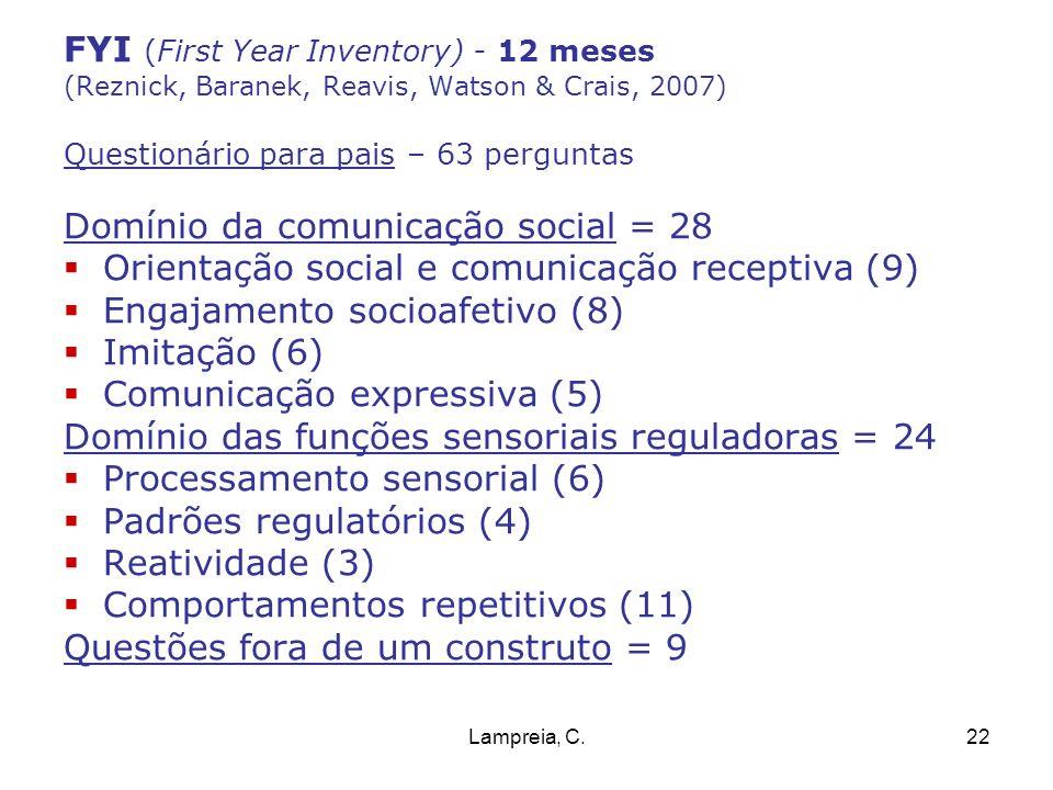 Lampreia, C.22 FYI (First Year Inventory) - 12 meses (Reznick, Baranek, Reavis, Watson & Crais, 2007) Questionário para pais – 63 perguntas Domínio da