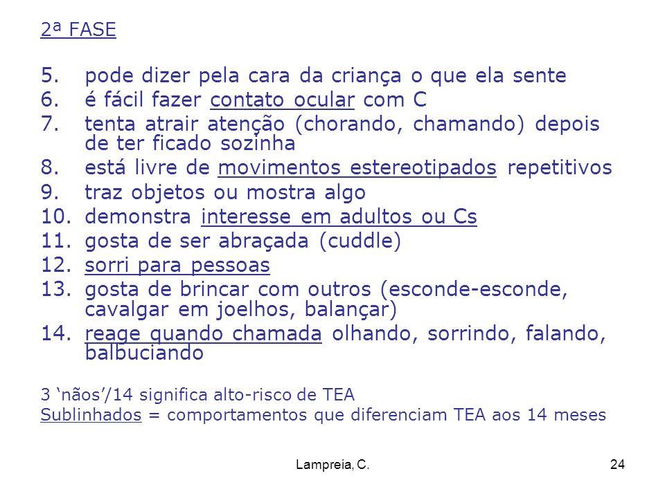 Lampreia, C.24 2ª FASE 5.pode dizer pela cara da criança o que ela sente 6.é fácil fazer contato ocular com C 7.tenta atrair atenção (chorando, chaman