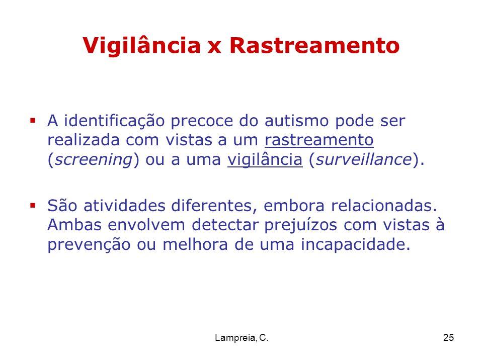 Lampreia, C.25 Vigilância x Rastreamento A identificação precoce do autismo pode ser realizada com vistas a um rastreamento (screening) ou a uma vigil