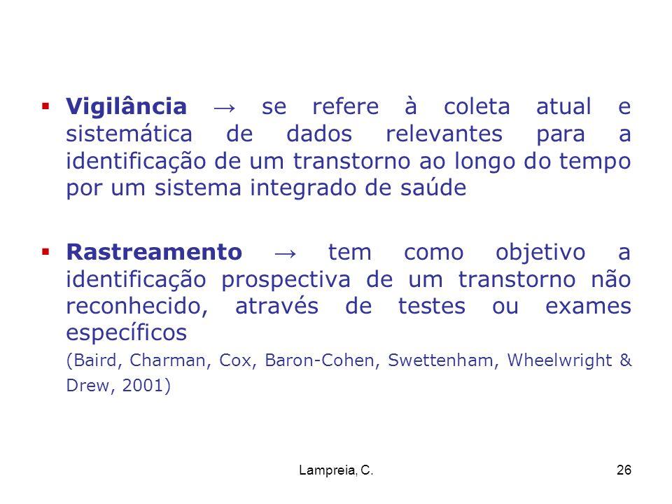 Lampreia, C.26 Vigilância se refere à coleta atual e sistemática de dados relevantes para a identificação de um transtorno ao longo do tempo por um si