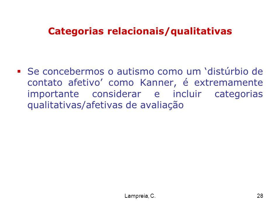 Lampreia, C.28 Categorias relacionais/qualitativas Se concebermos o autismo como um distúrbio de contato afetivo como Kanner, é extremamente important