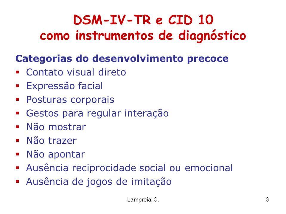 Lampreia, C.3 DSM-IV-TR e CID 10 como instrumentos de diagnóstico Categorias do desenvolvimento precoce Contato visual direto Expressão facial Postura