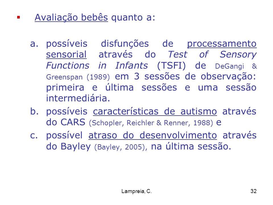 Lampreia, C.32 Avaliação bebês quanto a: a.possíveis disfunções de processamento sensorial através do Test of Sensory Functions in Infants (TSFI) de D