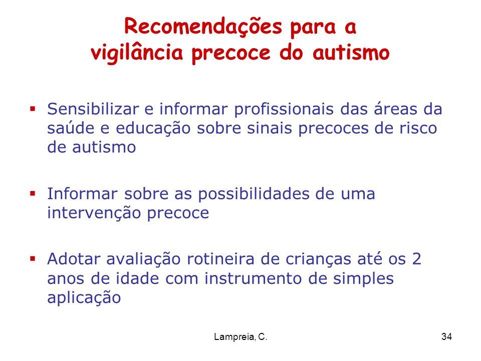 Lampreia, C.34 Recomendações para a vigilância precoce do autismo Sensibilizar e informar profissionais das áreas da saúde e educação sobre sinais pre