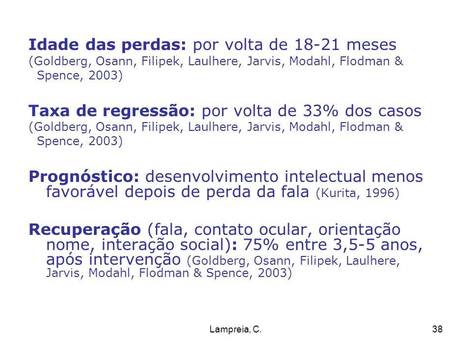 Lampreia, C.38 Idade das perdas: por volta de 18-21 meses (Goldberg, Osann, Filipek, Laulhere, Jarvis, Modahl, Flodman & Spence, 2003) Taxa de regress