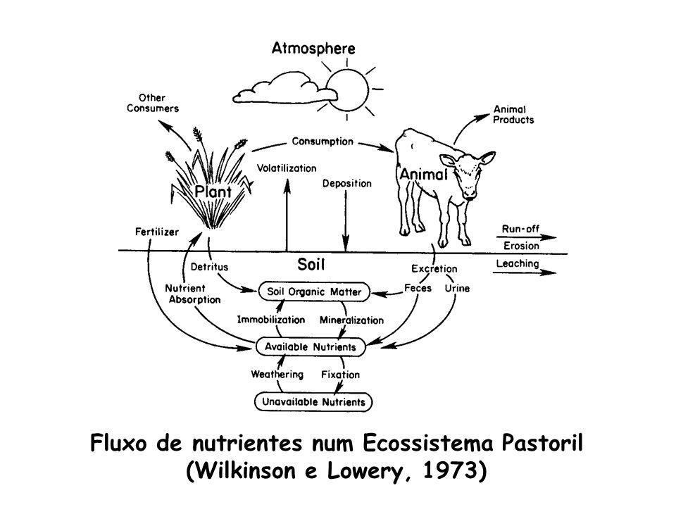 Fluxo de nutrientes num Ecossistema Pastoril (Wilkinson e Lowery, 1973)