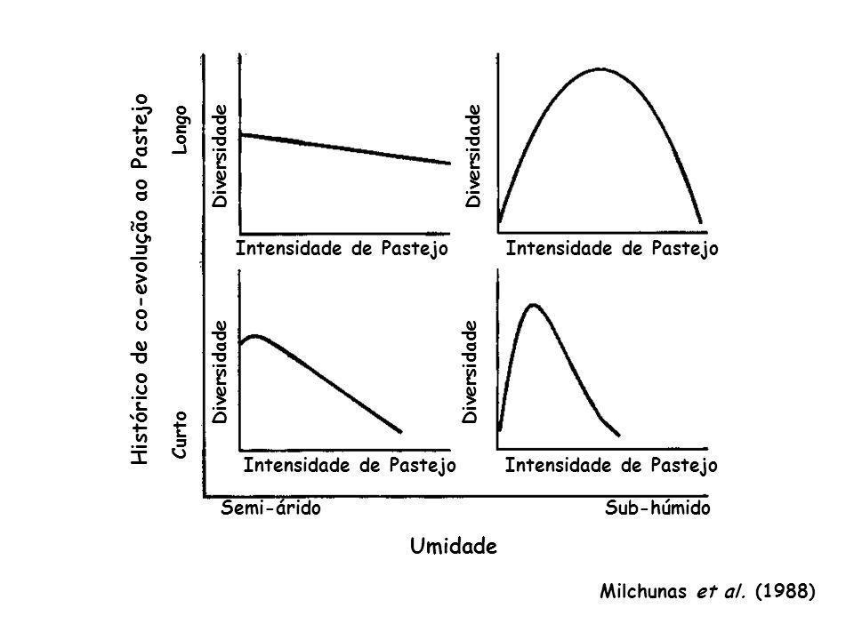 Sub-húmidoSemi-árido Intensidade de Pastejo Umidade Histórico de co-evolução ao Pastejo Diversidade Curto Longo Milchunas et al. (1988)