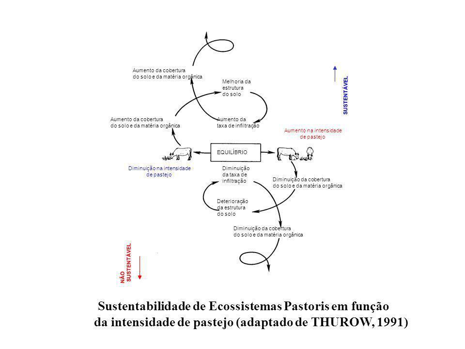 Sustentabilidade de Ecossistemas Pastoris em função da intensidade de pastejo (adaptado de THUROW, 1991) Diminuição da taxa de infiltração Deterioraçã