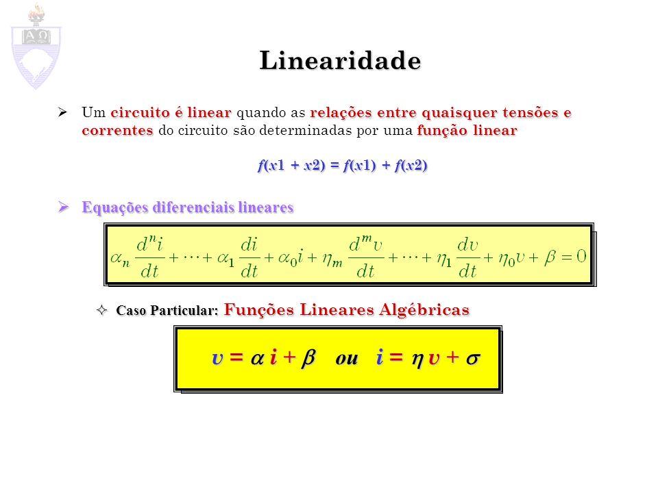 circuito é linearrelações entre quaisquer tensões e correntesfunção linear Um circuito é linear quando as relações entre quaisquer tensões e correntes