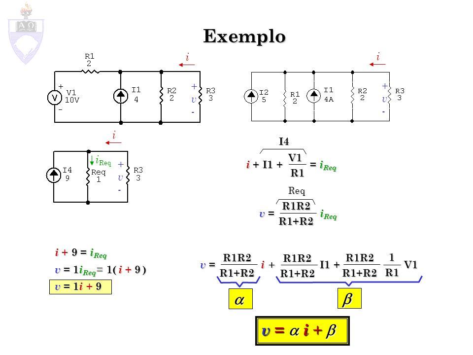 Exemplo i +v-+v- i +v-+v- i +v-+v- i + 9 = i Req v = 1 i Req = 1( i + 9 ) v = 1 i + 9 i Req i + I1 + = i Req V1R1 v = i Req R1R2R1+R2 v = i + I1 + V1