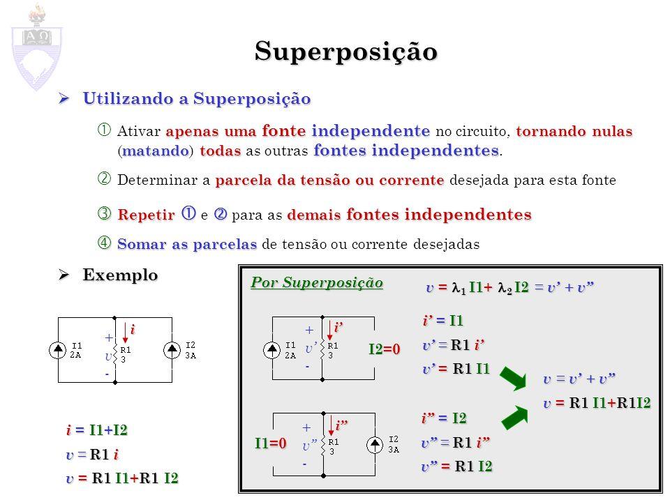 Exemplo +v-+v- +v-+v- I1=0 +v-+v- V1=0 ( R1 + ) v = V1 R3R2R3+R2 R3R2 R3+R2 ( + + ) v = I1 1 1 R1 1 R2 1 R3 ( R1 + ) v = I1 + V1 R3R2R3+R2 R3R2R3+R2 ( + + ) 1 1R1 1R2 1R3 v = v + v