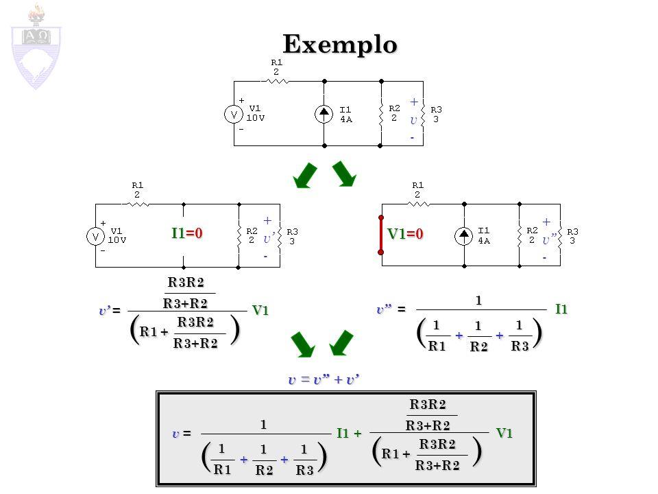 Exemplo Superposição em circuitos com Fontes Dependentes Superposição em circuitos com Fontes Dependentes As Fontes Dependentes NÃO PODEM SER MORTAS As Fontes Dependentes NÃO PODEM SER MORTAS V1=0 I1=0 i V 28 iV 28 i V 2 8 i V 2 8 i i i i = (V1+V2)/R2 i = (V1+8 i )/R2 i (1-8/R2)=V1/R2 i = V1/(R2(1-8/R2)) = -1,66A i = V2/R2-I1 i = 8 i /R2-I1 i (1-8/R2)=-I1 i = -I1/(1-8/R2)) = 1,33A i = V1/(R2(1-8/R2)) -I1/(1-8/R2)) i = i + i i = -1,66 + 1,33 = -0,33A
