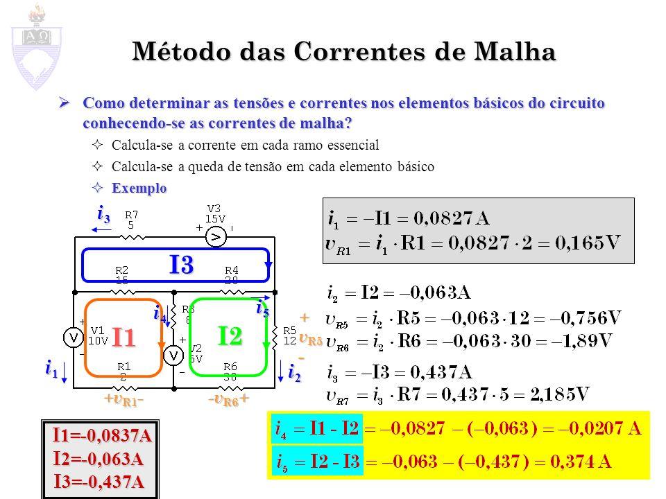 Método das Correntes de Malha Como determinar as tensões e correntes nos elementos básicos do circuito conhecendo-se as correntes de malha? Como deter