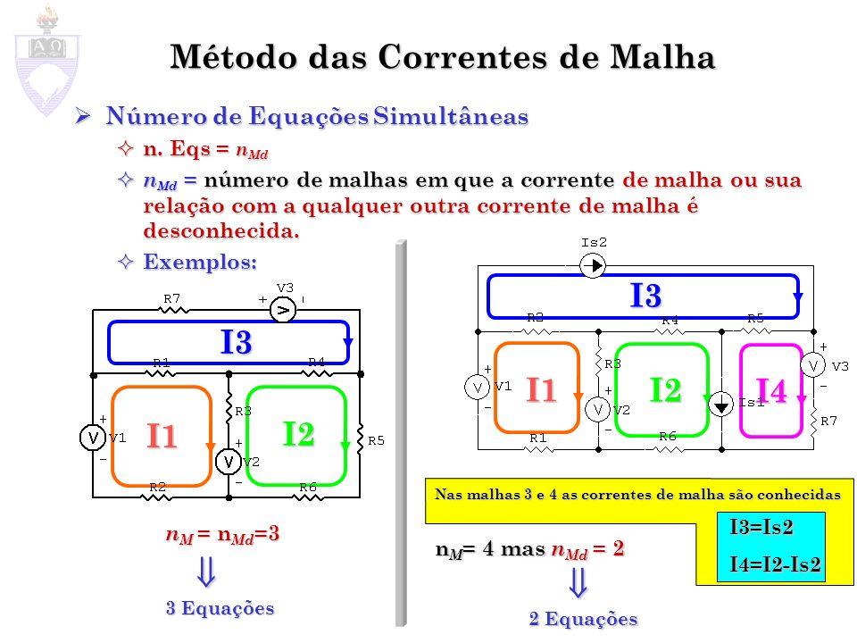 Método das Correntes de Malha Número de Equações Simultâneas Número de Equações Simultâneas n. Eqs = n Md n. Eqs = n Md n Md = número de malhas em que