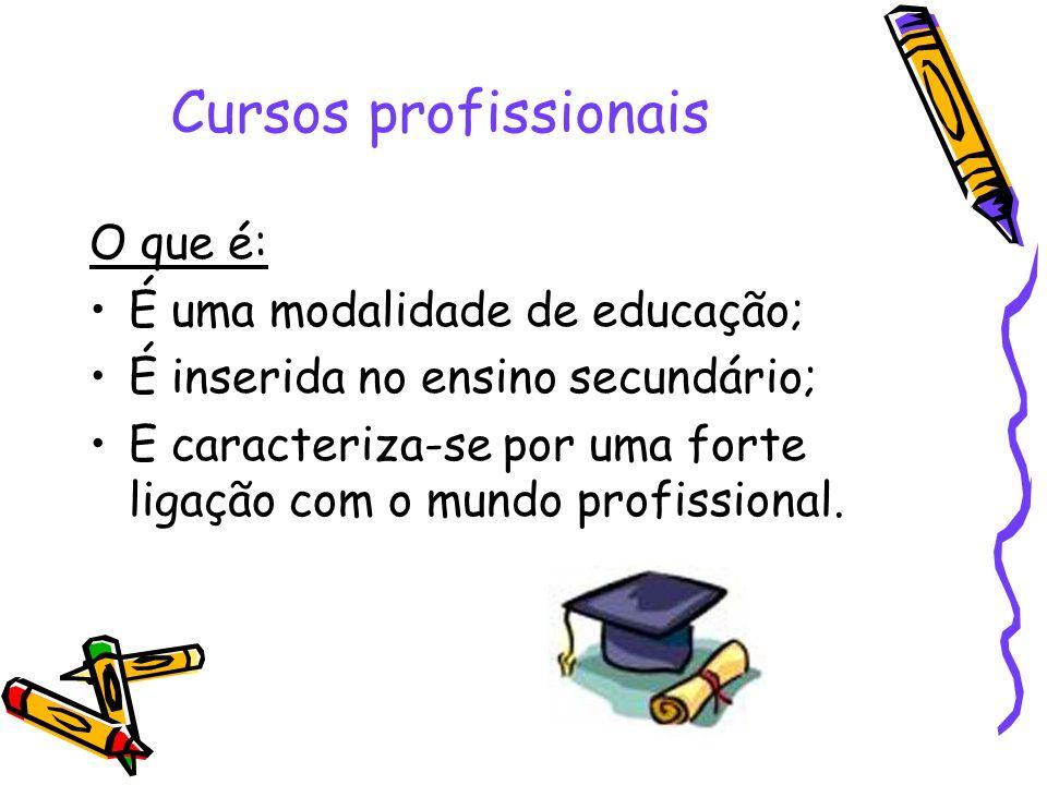Cursos profissionais O que é: É uma modalidade de educação; É inserida no ensino secundário; E caracteriza-se por uma forte ligação com o mundo profis