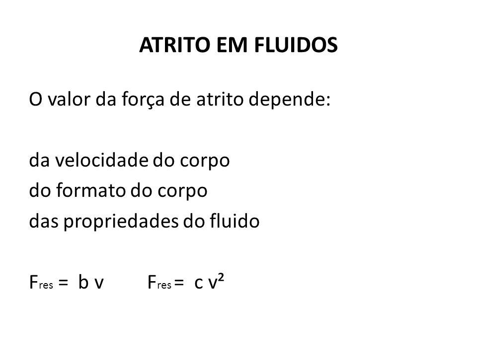 ATRITO EM FLUIDOS O valor da força de atrito depende: da velocidade do corpo do formato do corpo das propriedades do fluido F res = b v F res = c v²