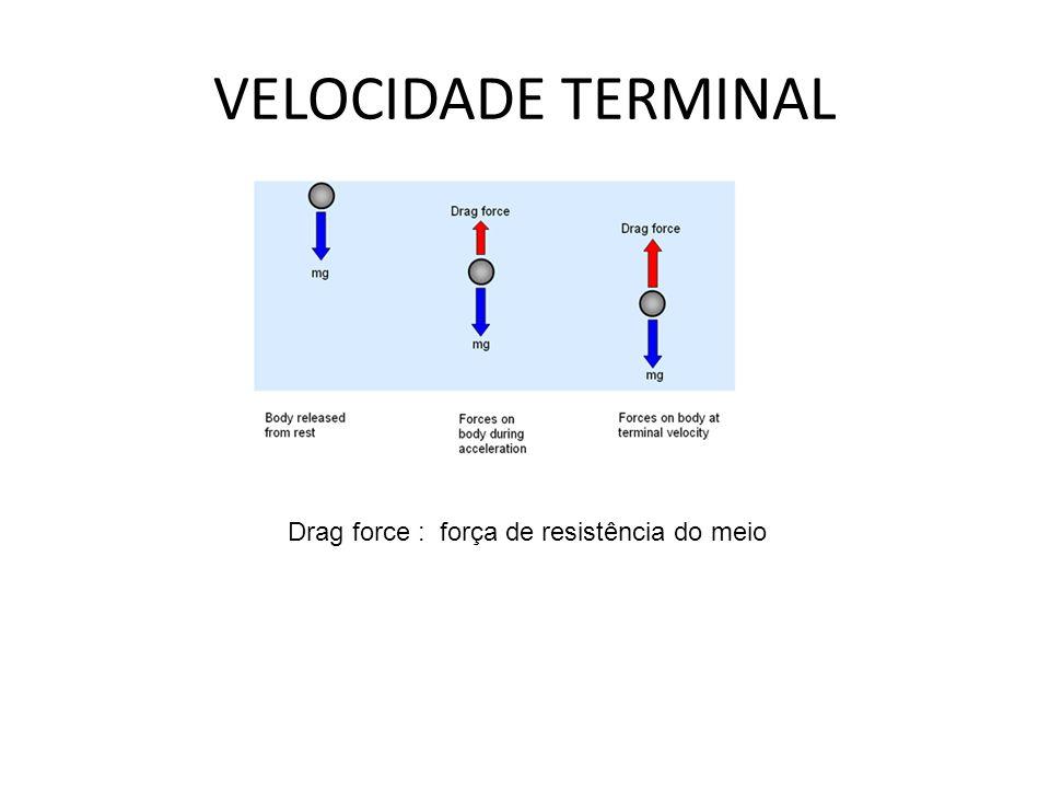 Cálculo da Velocidade Terminal F res = mg Se F res = b v -> v t = mg ̷ b Se F res = c v² -> v t = ( mg ̷ c) A velocidade de um corpo que cai sob a ação da gravidade aumenta até o instante em que a força de resistência tem o mesmo valor do que o seu peso.