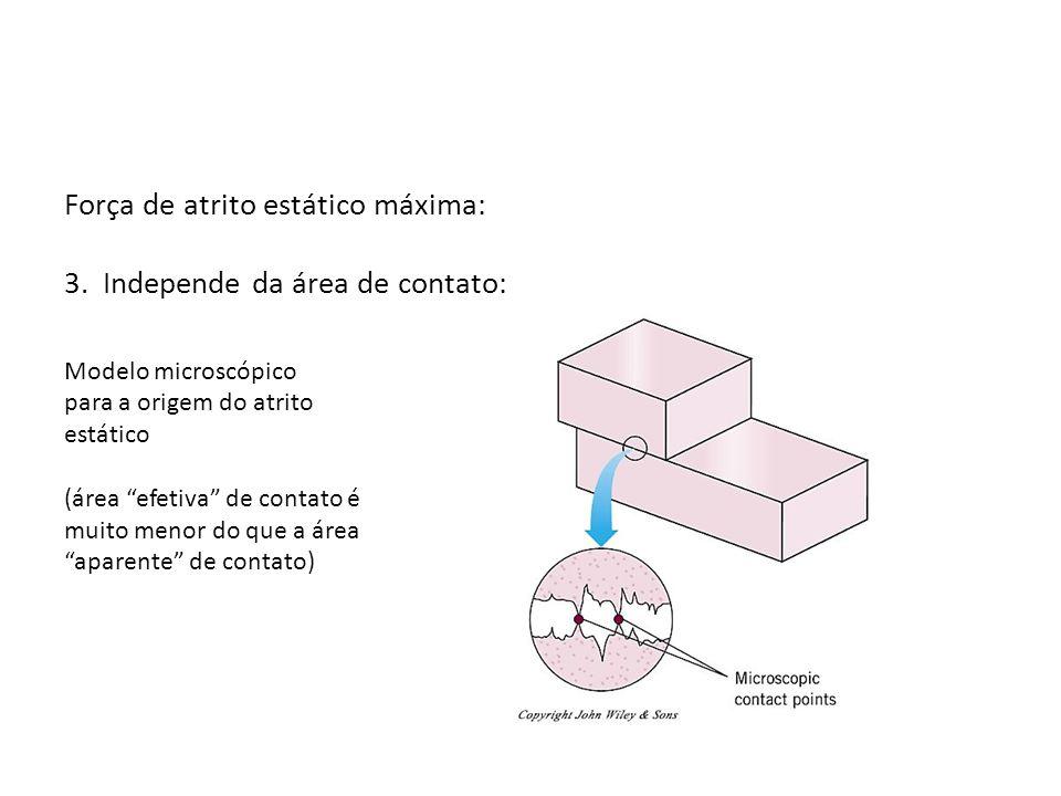 Força de atrito estático máxima: 3. Independe da área de contato: Modelo microscópico para a origem do atrito estático (área efetiva de contato é muit