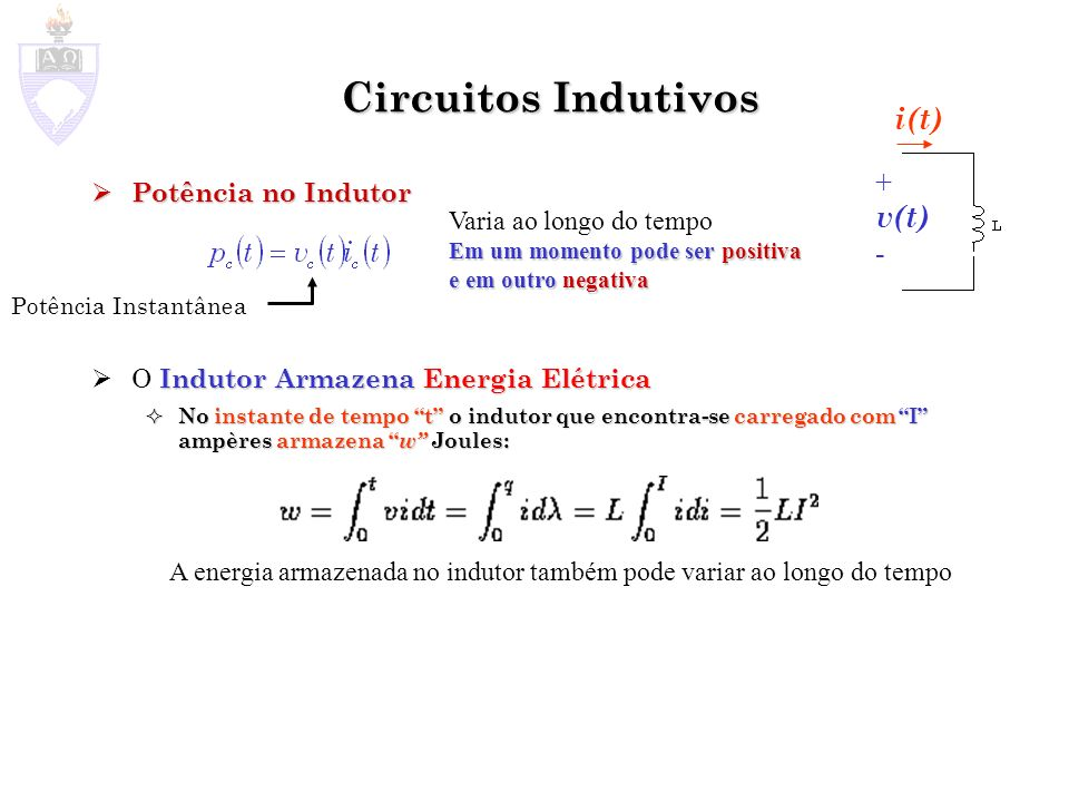 Circuitos Indutivos Potência no Indutor Potência no Indutor Indutor Armazena Energia Elétrica O Indutor Armazena Energia Elétrica No instante de tempo