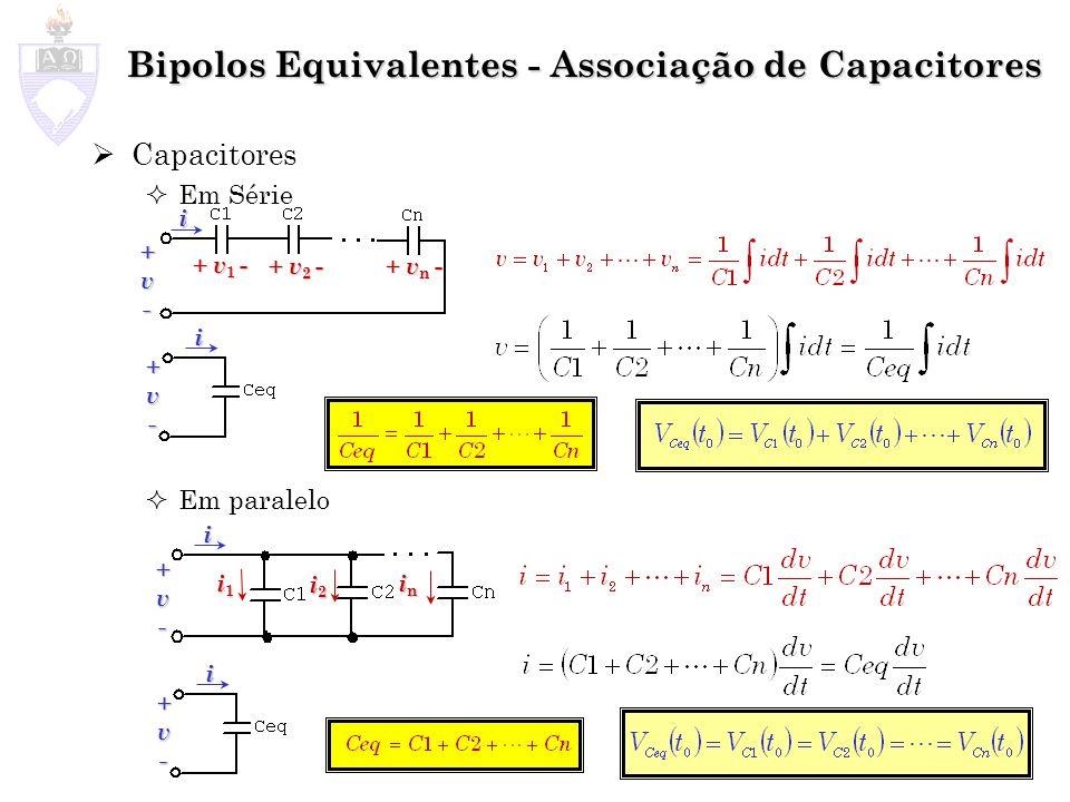 Bipolos Equivalentes - Associação de Capacitores Capacitores Em Série Em paralelo i1i1i1i1 i2i2i2i2 inininin +v- + v 1 - + v 2 - + v n - i +v- i +v- i