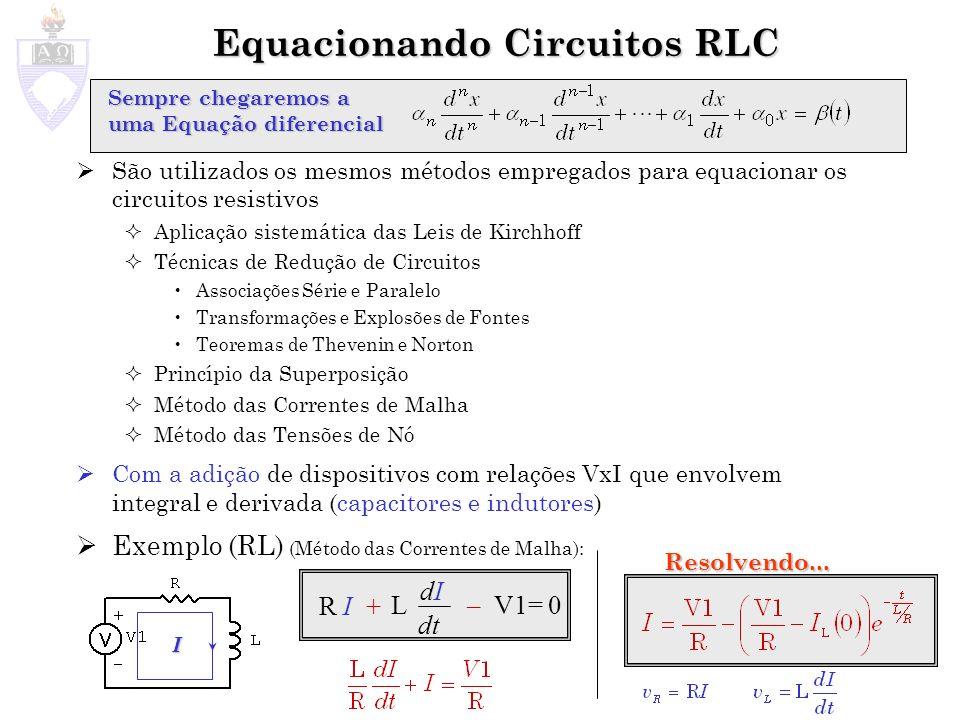 Equacionando Circuitos RLC São utilizados os mesmos métodos empregados para equacionar os circuitos resistivos Aplicação sistemática das Leis de Kirch