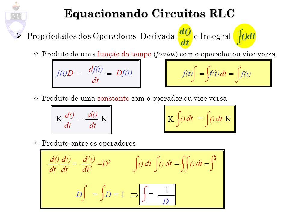 Propriedades dos Operadores Derivada e Integral Produto de uma função do tempo ( fontes ) com o operador ou vice versa Produto de uma constante com o