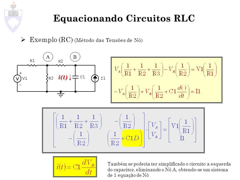 Equacionando Circuitos RLC Exemplo (RC) (Método das Tensões de Nó) A B i(t) Também se poderia ter simplificado o circuito a esquerda do capacitor, eli