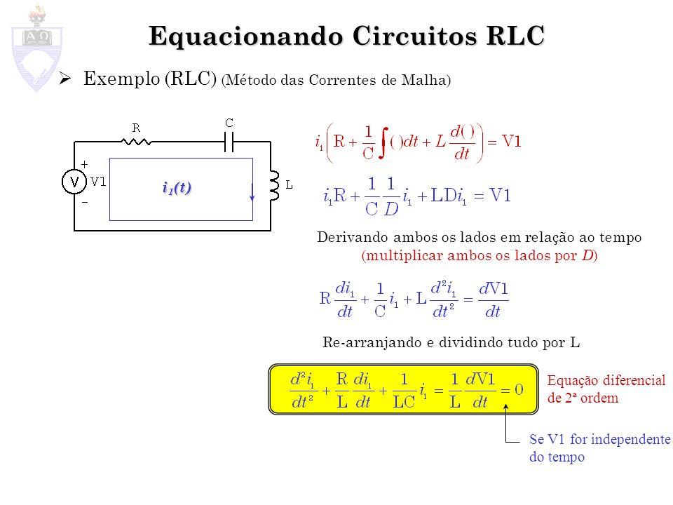 Equacionando Circuitos RLC Exemplo (RLC) (Método das Correntes de Malha) i 1 (t) Derivando ambos os lados em relação ao tempo (multiplicar ambos os la