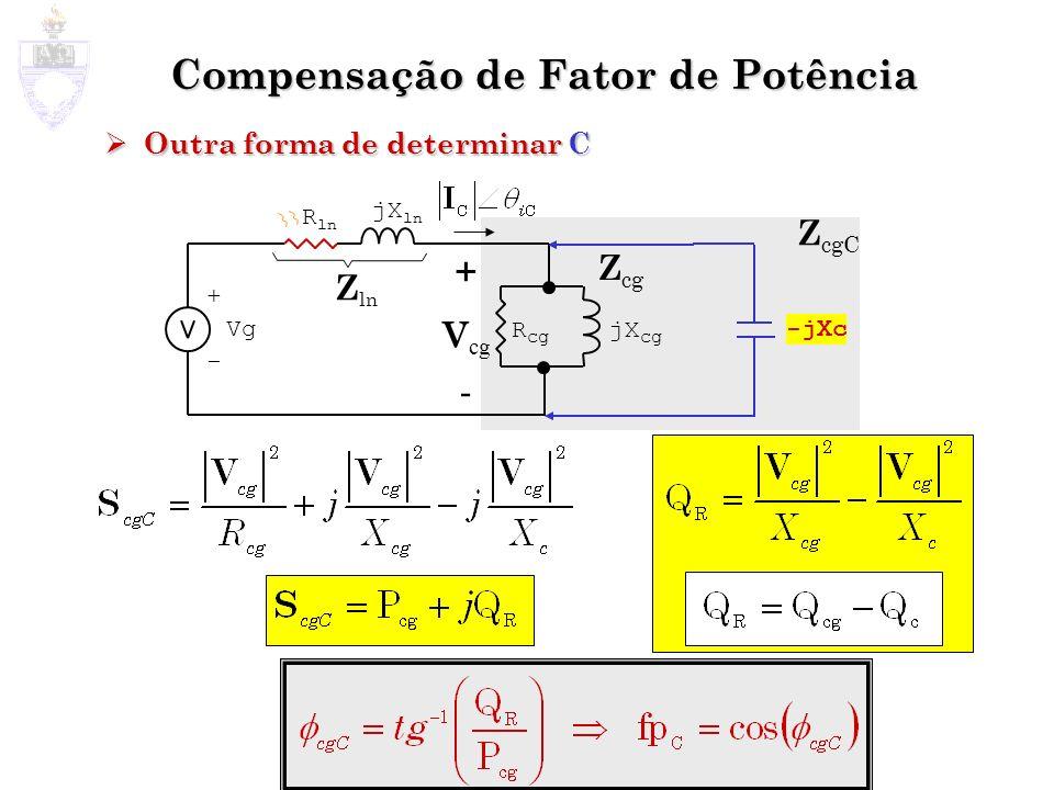Compensação de Fator de Potência Outra forma de determinar C Outra forma de determinar C Z cg + - Vg jX ln R ln Z ln + V cg - jX cg R cg -jXc Z cgC