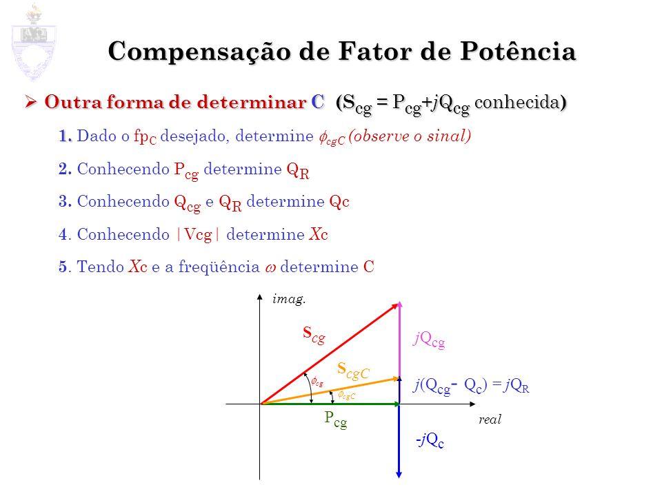 Compensação de Fator de Potência Outra forma de determinar C (S cg = P cg + j Q cg conhecida ) Outra forma de determinar C (S cg = P cg + j Q cg conhe