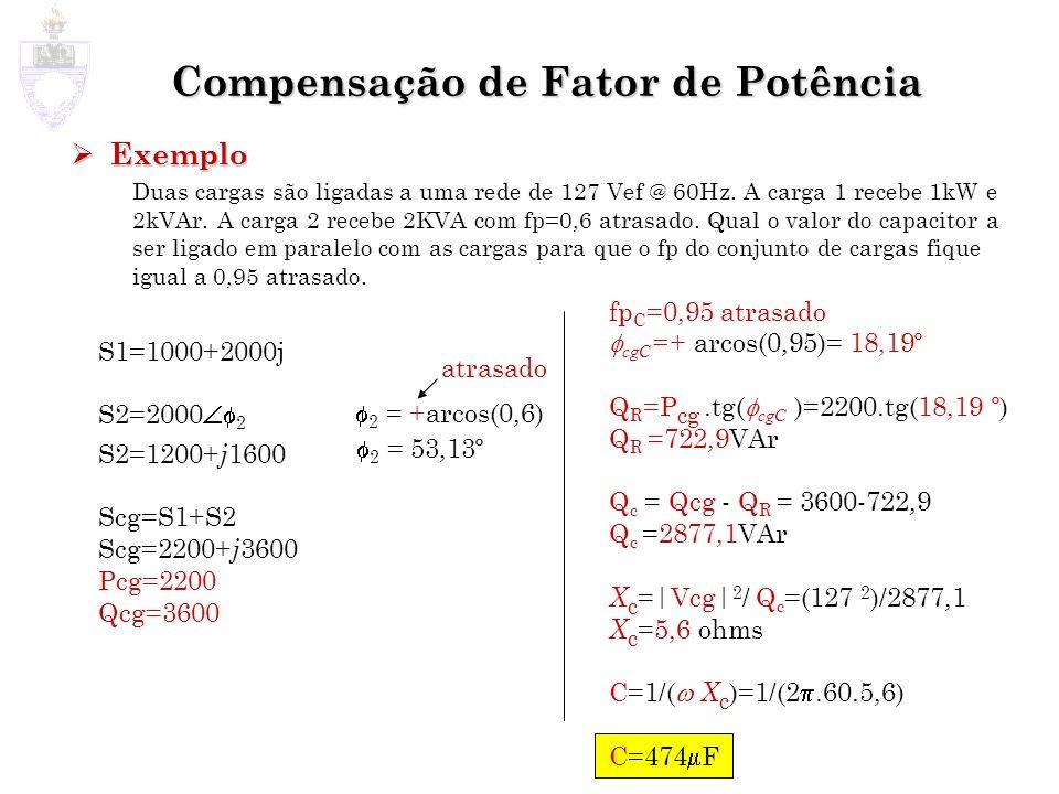 Compensação de Fator de Potência Exemplo Exemplo Duas cargas são ligadas a uma rede de 127 Vef @ 60Hz. A carga 1 recebe 1kW e 2kVAr. A carga 2 recebe